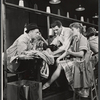 Eddie Foy Jr., John Raitt, Janis Paige and unidentified others in the stage production of The Pajama Game