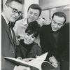 Arthur Storch, Steve Lawrence, Eydie Gorme and Ronald Field in rehearsal for the stage production Golden Rainbow.