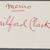 Memo about Milford Clark, wounded soldier, and letter to write on his behalf.