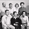 Hector Elizondo, Jack Gilford, Gretchen Wyler, Bob Dishy, George C. Scott, Trish Van Devere and Arthur Penn in a publicity shot for the stage production Sly Fox