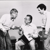 Jack Gilford, George C. Scott and director Arthur Penn in rehearsal for the stage production Sly Fox