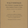 """Analysis of Poems,"" i.e. Leaves of Grass, by Richard Maurice Bucke, revised, annotated and corrected by Walt Whitman"