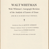 """Analysis of Poems,"" i.e. Leaves of Grass, by Richard Maurice Bucke, revised, annotated and corrected by Walt Whitman. (See also: Manuscripts relating to Whitman)."