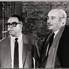 Art Buchwald and Robert Whitehead in a publicity pose for the stage production Sheep on the Runway