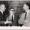 Robert Whitehead, Art Buchwald and Gene Saks in a publicity pose for the stage production Sheep on the Runway