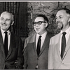 Producer Robert Whitehead, playwright Art Buchwald and director Gene Saks in a publicity pose for the stage production Sheep on the Runway