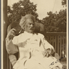 Five photographs. SLC on a verandah in a wicker chair, August 1907, Tuxedo, NY.