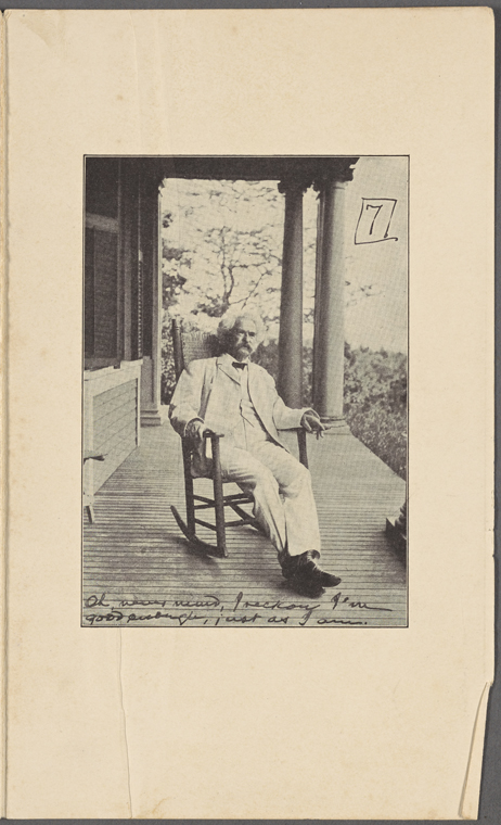 This is What Mark Twain and Seven photographs. SLC on a verandah smoking. Photograph series the progress of a moral purpose... Printed version of all seven pictures with accompanying introduction Looked Like  in 1906
