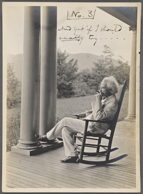 This is What Mark Twain and Seven photographs. SLC on a verandah smoking. Photograph series the progress of a moral purpose... 3 of 7 Looked Like  in 1906