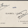 Lyon, Isabel. Miscellaneous note to W. T. H. Howe.