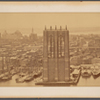 Panoramic view of Manhattan, showing Brooklyn Bridge under construction