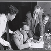 George Axelrod, Martin Gabel, Harry Kurnitz, and Henry Margolis in rehearsal for the stage production of Once More, With Feeling