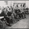 Katherine Hepburn and company in rehearsal for the stage production Coco