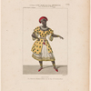 Costume de Mme. Elie, rôle d'une négresse, dans La révolte au Sérail, ballet, acte 1er. et 2e.