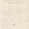Pond, [Major James Burton], ALS to. Jul. 8, 1884.