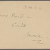 Pond, [Major James Burton], postcard to. Oct. 26, [1901?].