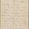 [Bliss], Frank, ALS to. Apr. 15, [1879].