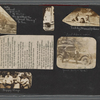 "Scrapbook page consisting of snapshots of George Brashear; friends identified as Betty, Teddy, Manuel, Leon and ""Rich,"" an unidentified group eating watermelon; an unidentified young girl; and a clipping of a poem titled ""Keep the Home Fires Burning,"" circa 1918"