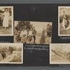 Scrapbook page of snapshots of George Brashear, Lieutenant J.W. Huguley and Corporal Williams during military target practice, women identified as Bennie & friend, and a group of men and women eating watermelons, at Tuskegee Institute, 1918