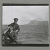 """Kitoboi"""" vykhodim iz Atlanticheskog Okeana v Sredizemnoe More.  Sprava-Gibraltar, 9/10/20.  Na mostike: Vperedi: Leit. N. I. Bobarykov, Pozadi: Mshm. A. B. Lesgaft."""