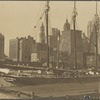 View of four-masted schooner, Woolworth Building, World Building, Municipal Building
