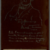 Caricature self-portrait, etched on copper. Party favor for SLC's 67th birthday dinner guests. For Mr Van Tassell Sutphen.
