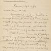 Hall, [Frederick J.], ALS to. Apr. 4, 1892.
