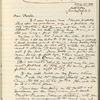 Howells, W[illiam] D[ean], AL to. Aug. 25, 1906. Copy in Isabel Lyon's hand.