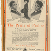 Advertisement for the motion picture The Perils of Pauline featuring Paul Panzer, Pearl White (in Lady Duff-Gordon gown), and Crane Wilbur, as published in Moving Picture World.