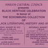 Harlem Cultural Council Presents Black Heritage Celebration in Honor of The Schomburg Collection of Black Literature, History and Art