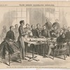 West Point cadet James W. Smith reading his defense statement at his court-martial hearing at the United States Military Academy, West Point, New York, January 12, 1871