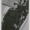 "SPARS Olivia Hooker, of Columbus, Ohio, and Aileen Anita Cooke, of Los Angeles, California, aboard the dry-land ship ""USS Neversail,"" during their training at the U.S. Coast Guard Training Station, Manhattan Beach, Brooklyn, New York, 1945"