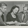 Oliver Smith and Rudolf Bing with Lucia Chase signing a contract with Metropolitan Opera, no. 31