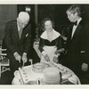 Oliver Smith and Lucia Chase cutting the cake at American Ballet Theatre's 35th Anniversary Party, no. 51