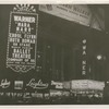 Night photograph of the lighted signs and marquee for the Warner movie theater featuring Ballet Theatre, no. 53