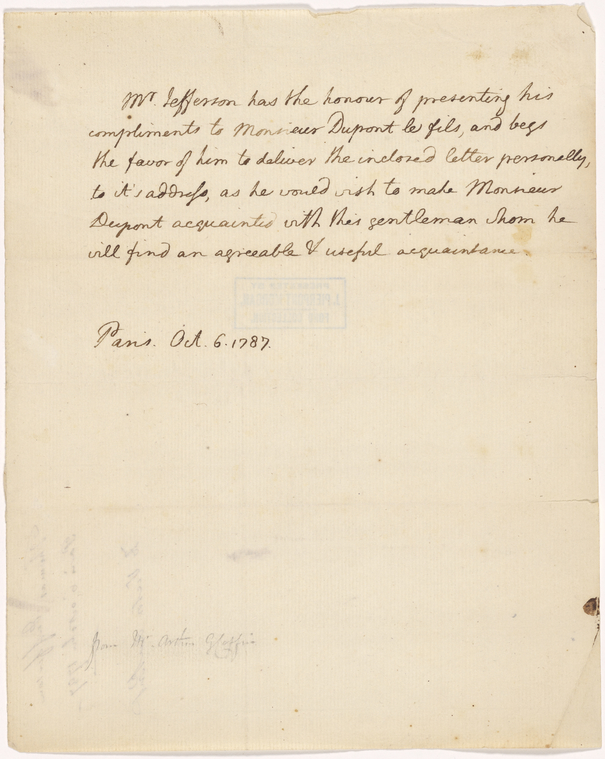 This is What Thomas Jefferson and Letter to Victor Dupont Looked Like  on 10/6/1787
