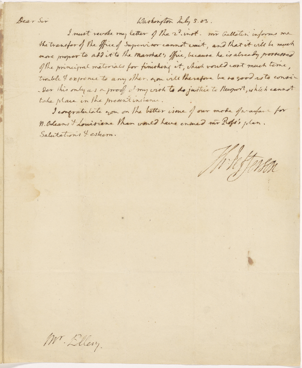 This is What Thomas Jefferson and Letter to Christopher Ellery Looked Like  on 7/5/1803