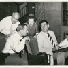 Lawrence Langner, Richard Rodgers, Agnes de Mille, and Oscar Hammerstein in rehearsal for the stage production Allegro