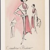 Redingote-style dress with shawl-collar jacket, chiffon halter and matching apron drape
