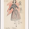 """Short-sleeved plaid dress with fitted high-waist button decoration, full skirt and contrast-fabric bodice; matching bolero with """"cut-a-way"""" look and 3/4-length sleeves"""