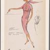 Slit-neckline dress with sharply pressed box pleats