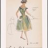 Petal-shaped off-the-shoulder neckline dress with contrast ribbon trim; full skirt gathered at hips; V neckline at back
