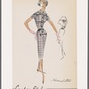 Plaid shirtwaist dress with belt, gathered back and bows at placket ends