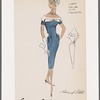 Sheath dress with hip flap pockets and fagoting on linen collar