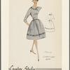 3/4-sleeve faille dress with embroidery trim, cummerbund and jabot