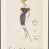 Belted sheath dress of plain and striped fabrics; double button closing and striped bow on bateau neckline; short flaring sleeves