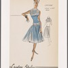 Sleeveless chiffon cocktail dress with bands of heavy trim at neckline, mid-bodice and dropped waist; accordion pleats on bodice and skirt; fitted midriff