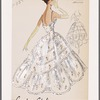 Tiered evening gown of embroidered organdy with camisole neckline, spaghetti straps and dipped hemline; large scalloped panels over underskirt; tiers edged with ruffle trim