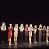 Chorus lined up on stage for 2nd New York call of the stage production A Chorus Line, medium shot