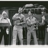 Unidentified actor, Ralph Meeker, Sal Mineo, and Tony Roberts in the stage production Something About a Soldier